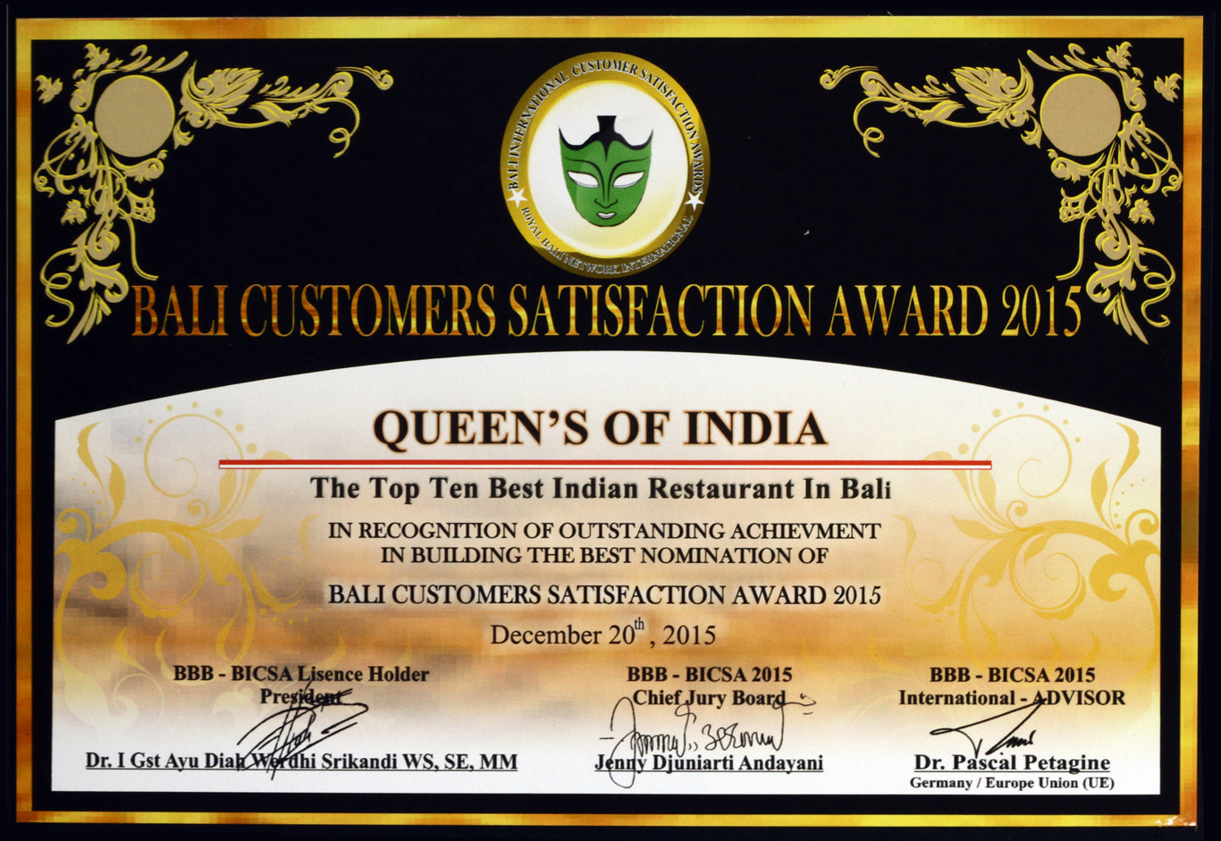 Top Ten Best Indian Restaurant in Bali Queens of India - Bali Best Brand 2015