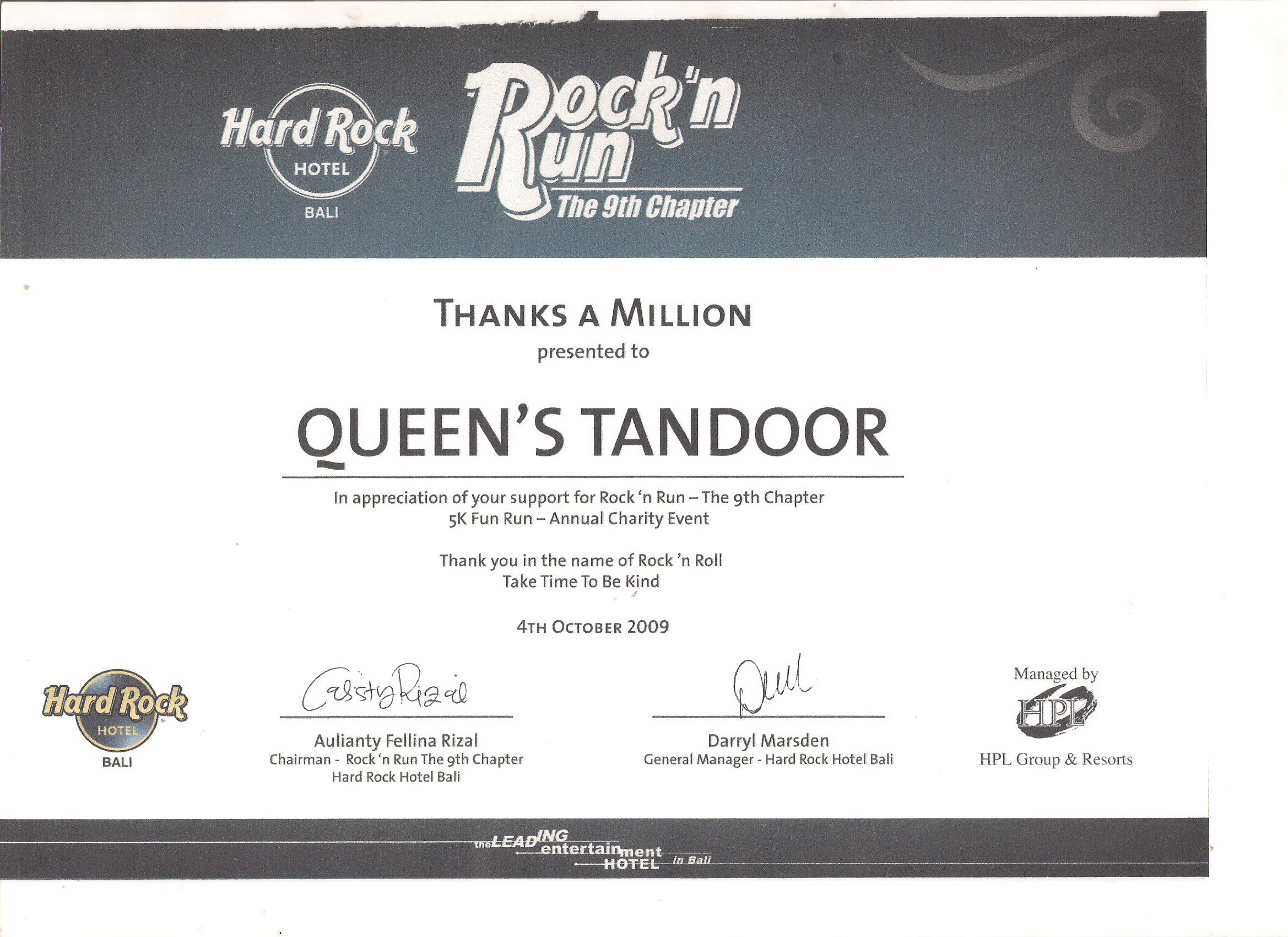 Appreciation for Rock & Fun from Hard Rock 2009