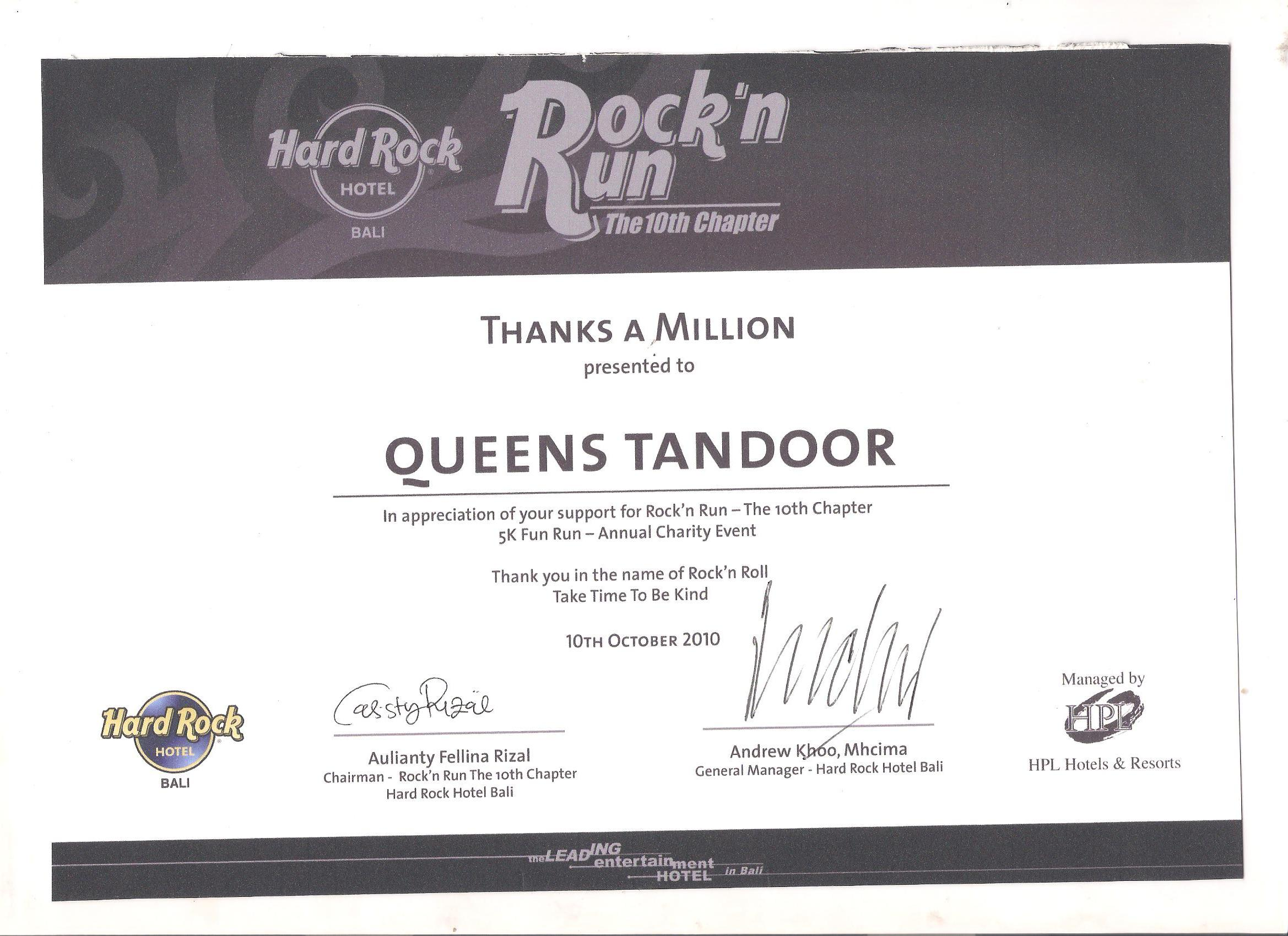 Appreciation for Rock & Fun from Hard Rock 2010