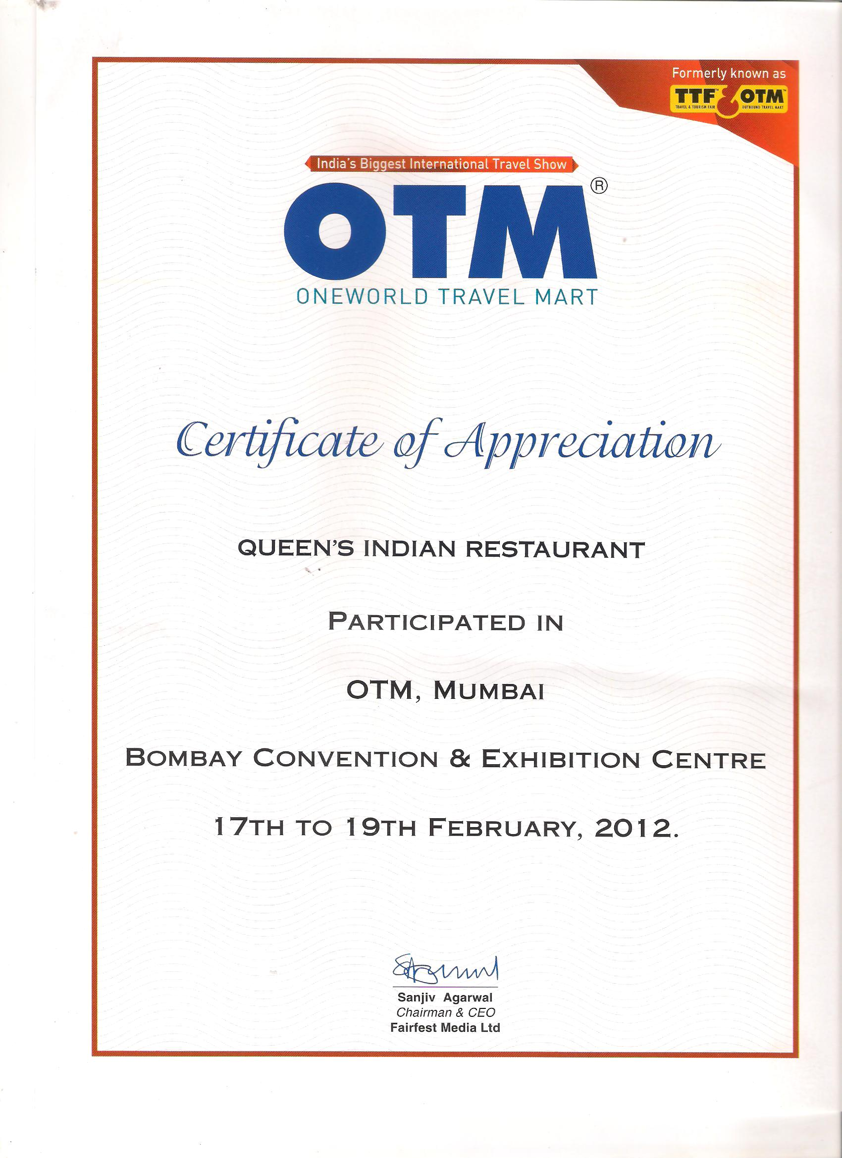 Appreciation for Convention & Exhibition from OTM (One Travel Mart) 2012