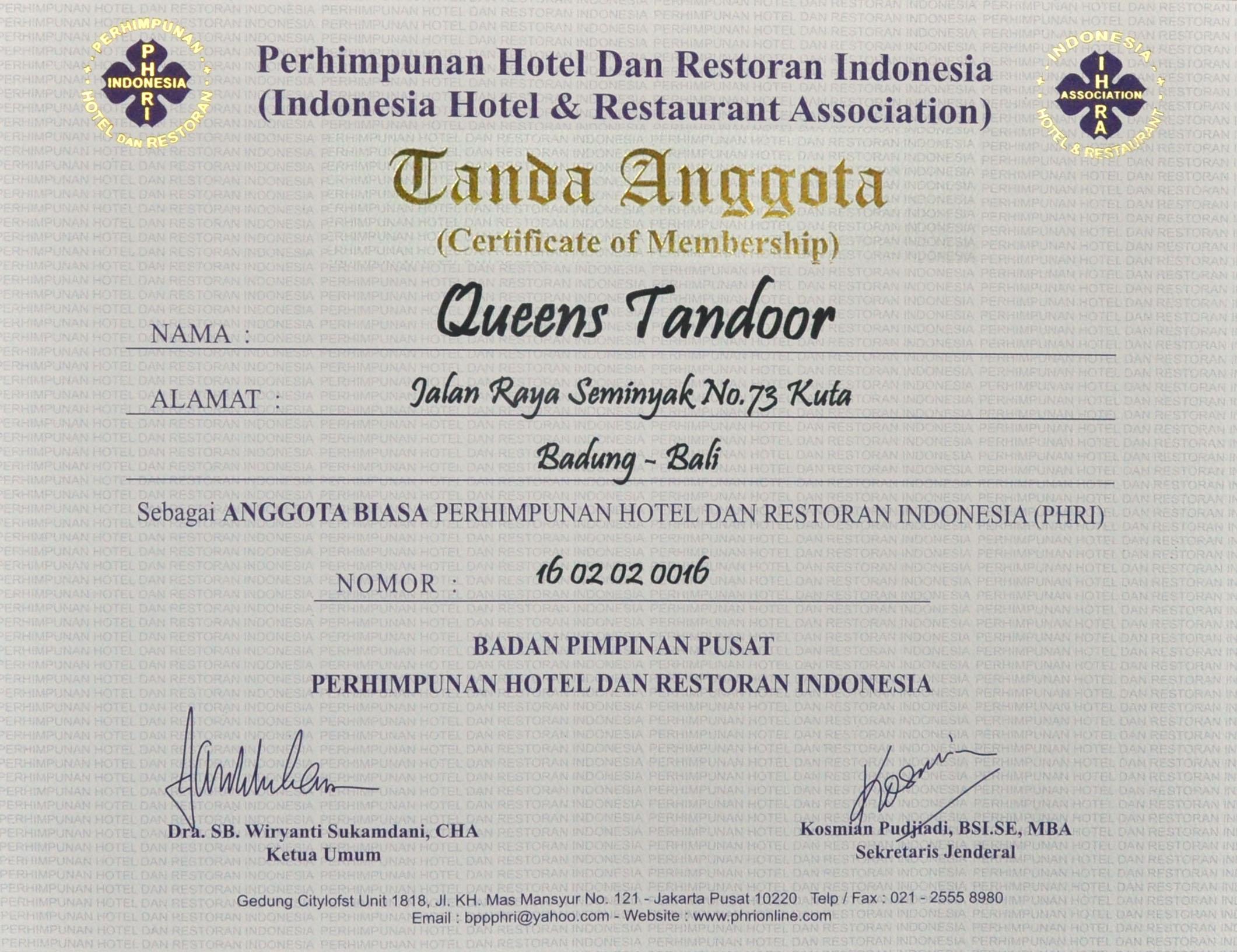 Certificate fo Memberhip Queens Tandoor from PHRI 2015