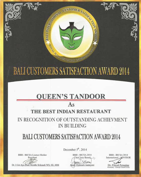 The Best Indian Restaurant in Bali Queens Tandoor - Bali Best Brand
