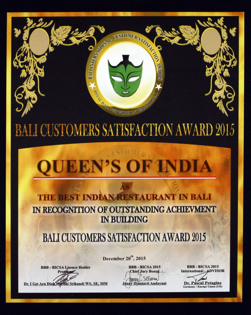 The Best Indian Restaurant in Bali Queens of India - Bali Best Brand 2015