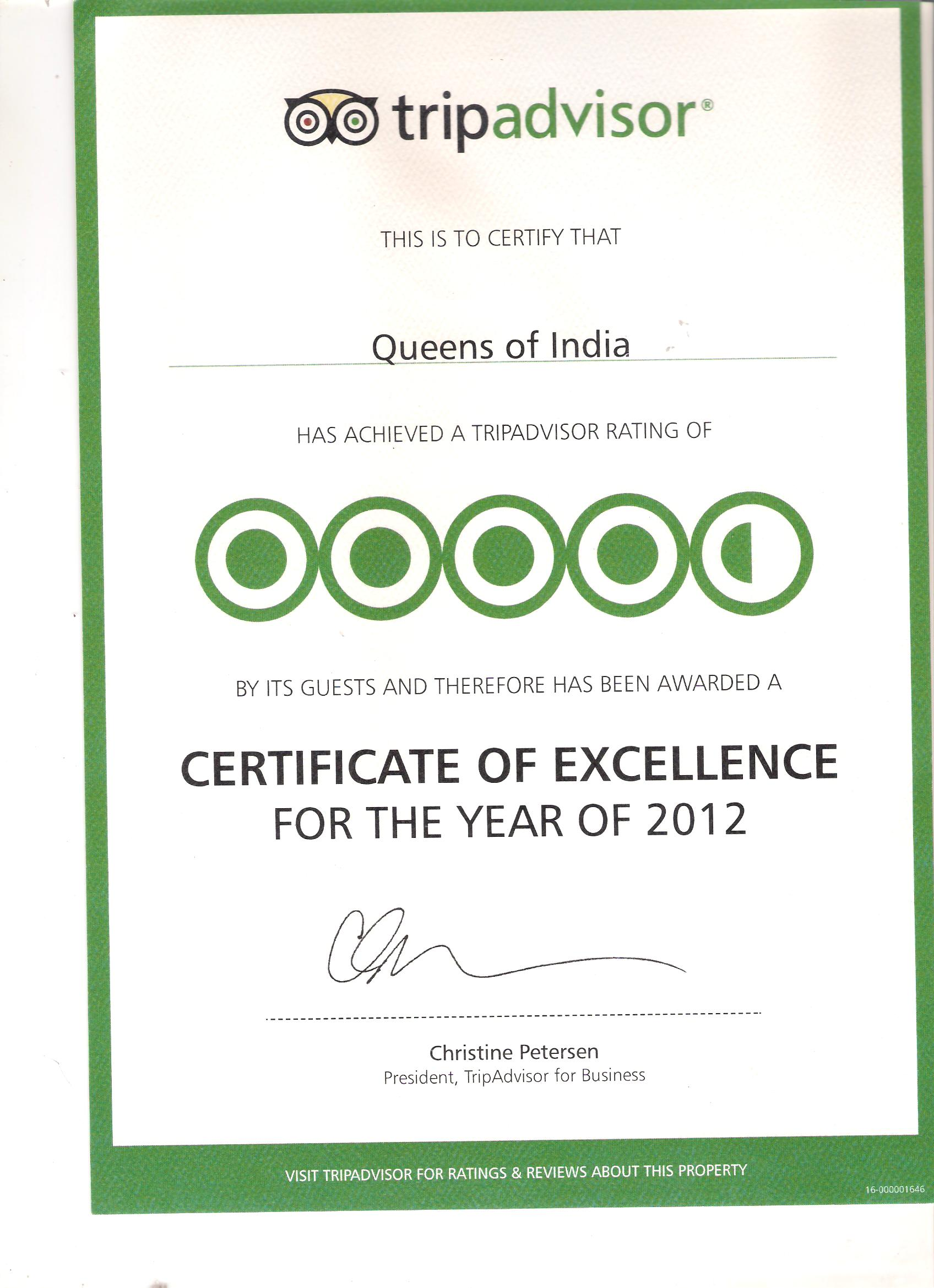 Certificate Of Excellence Queens of India from Tripadvisor 2012