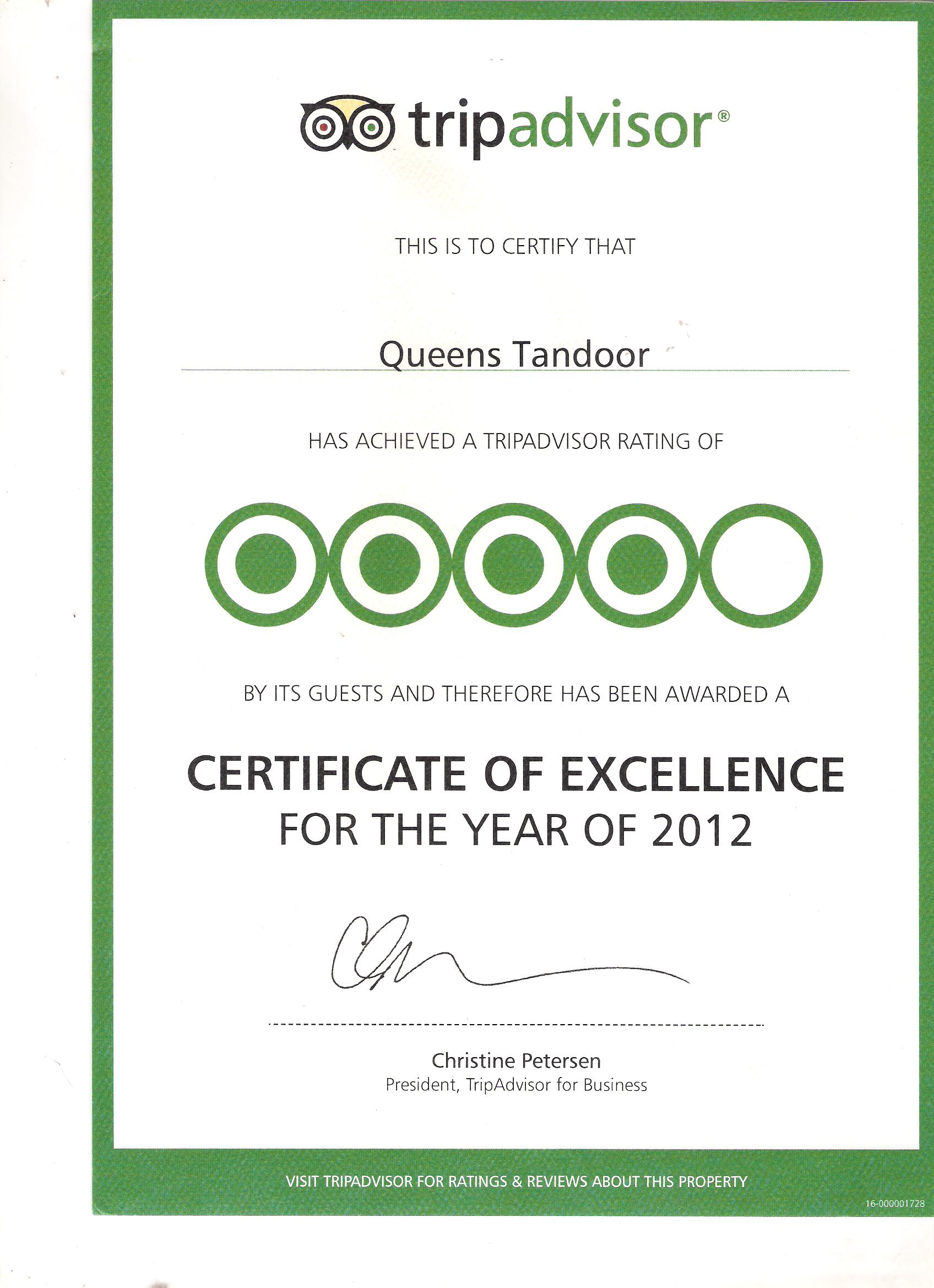 Certificate Of Excellence Queens Tandoor from Tripadvisor 2012