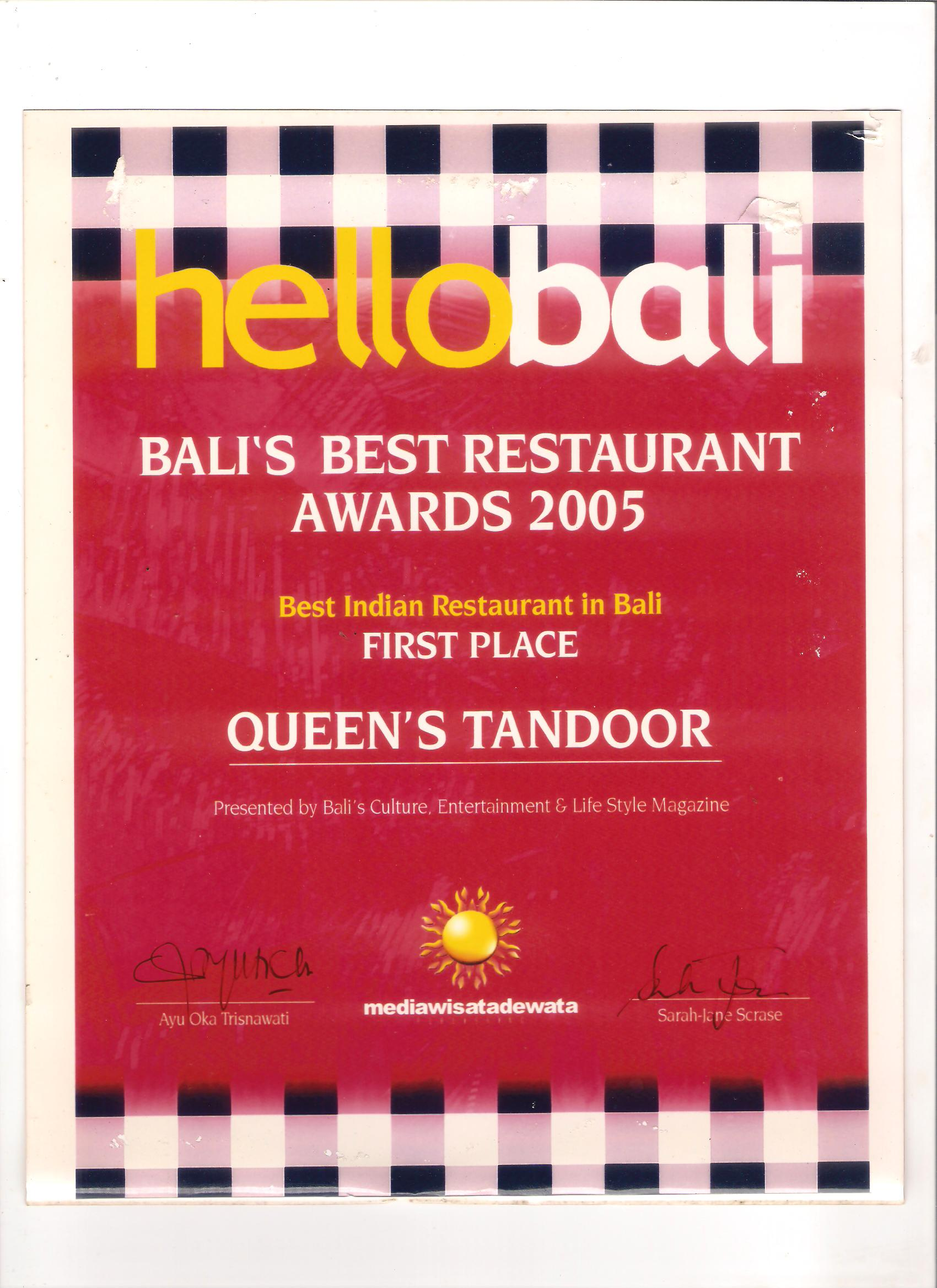 Hello Bali Award 2005 - Best Indian Restaurant In Bali