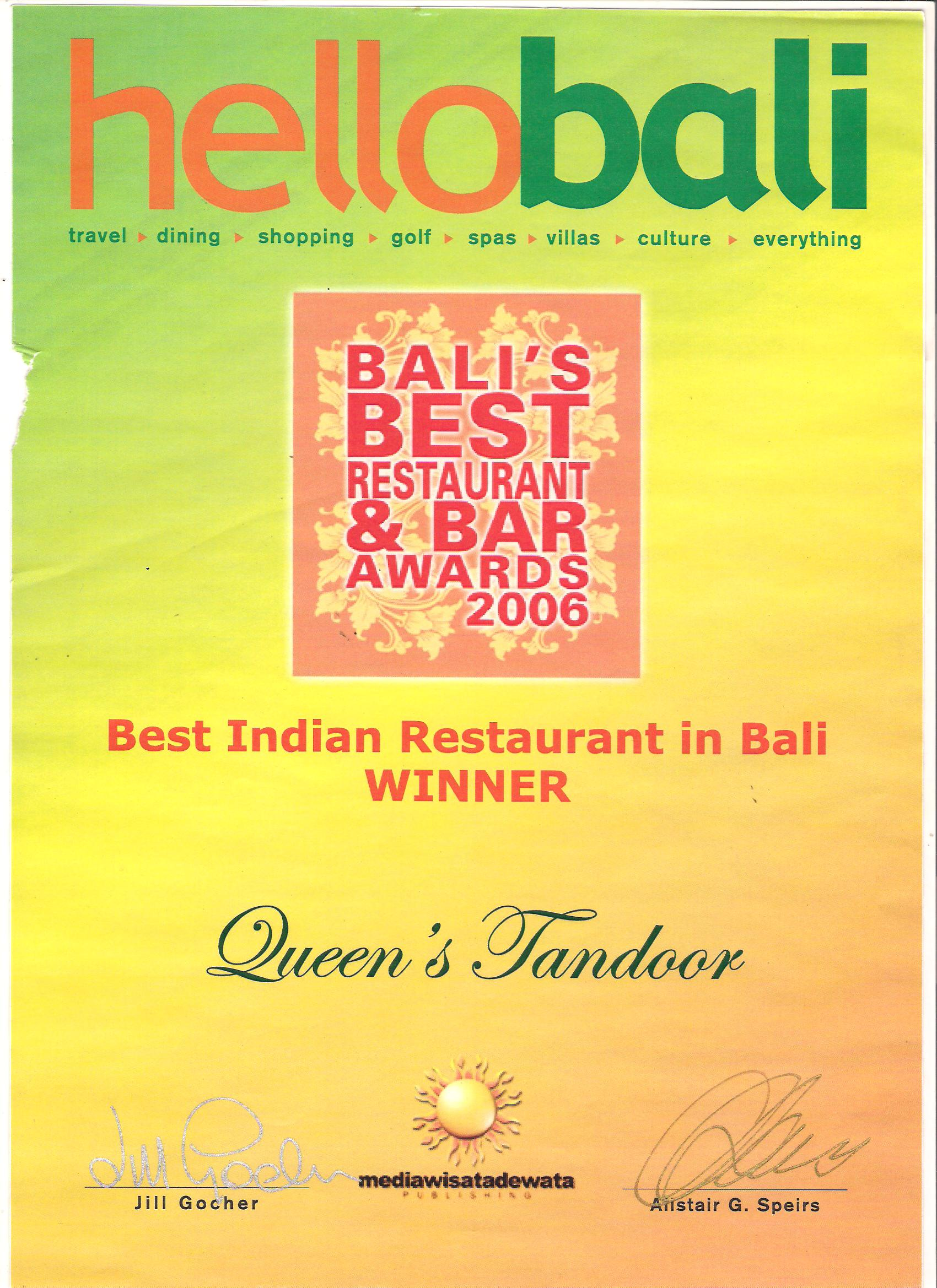 Hello Bali Award 2006 - Best Indian Restaurant in Bali
