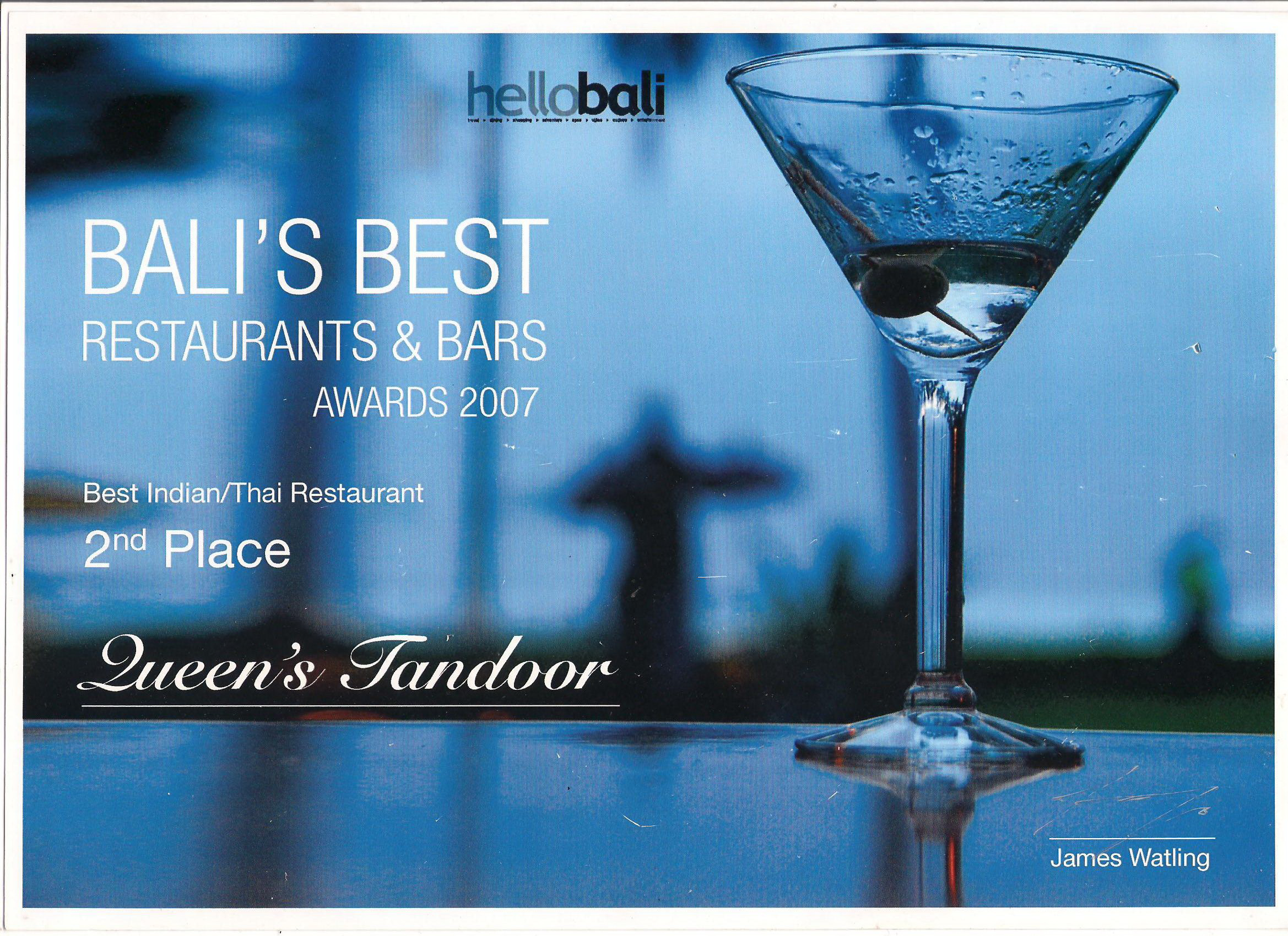 Hello Bali Award 2007 - Best Indian & Thai Restaurant