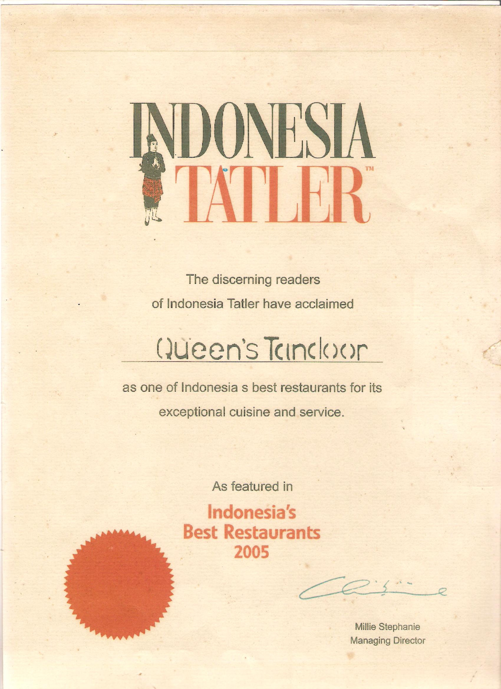 Indonesia Tatler 2005 - Indonesia Best Restaurant