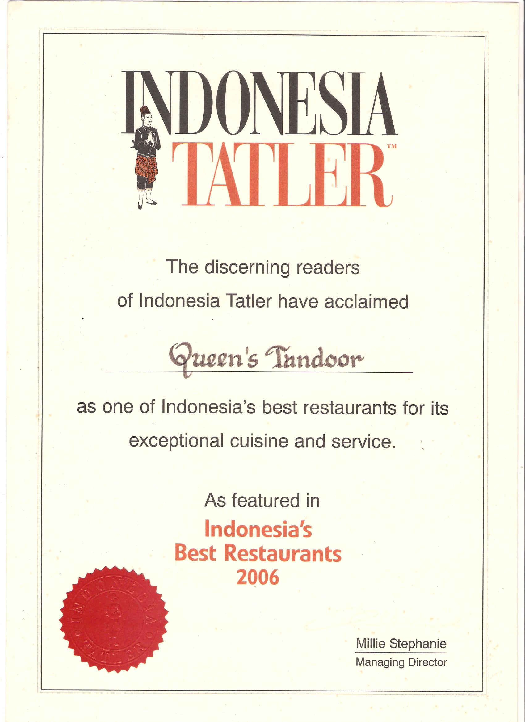 Indonesia Tatler 2006 - Indonesia Best Restaurant