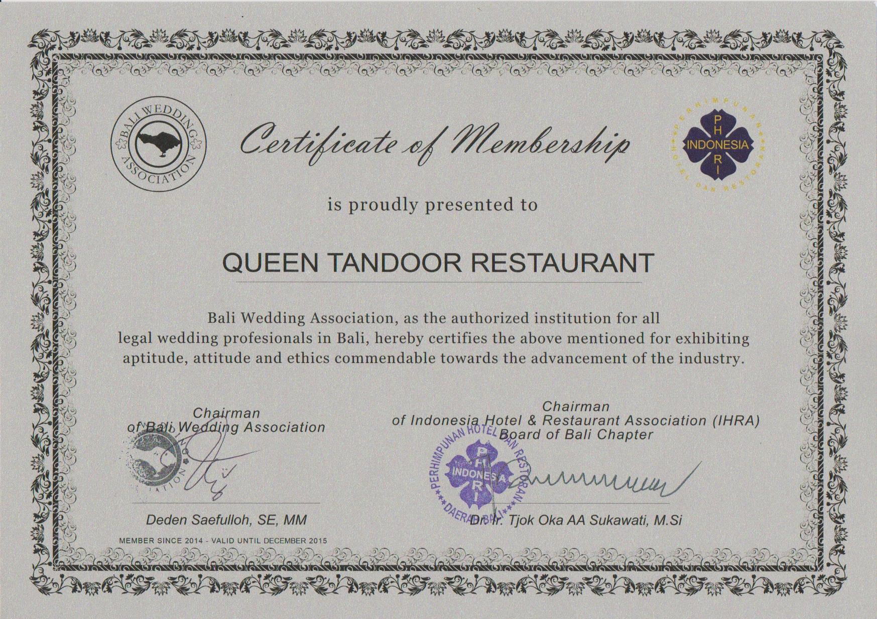 Certificate Of Membership Queens Tandoor from BWA & PHRI 2015