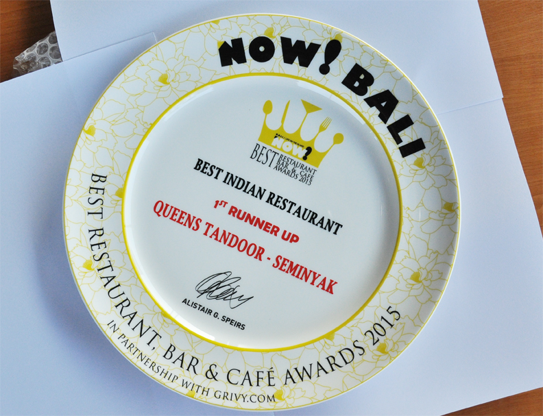 1st Runner Up Best Indian Restaurant Queens Tandoor from Now Bali 2015