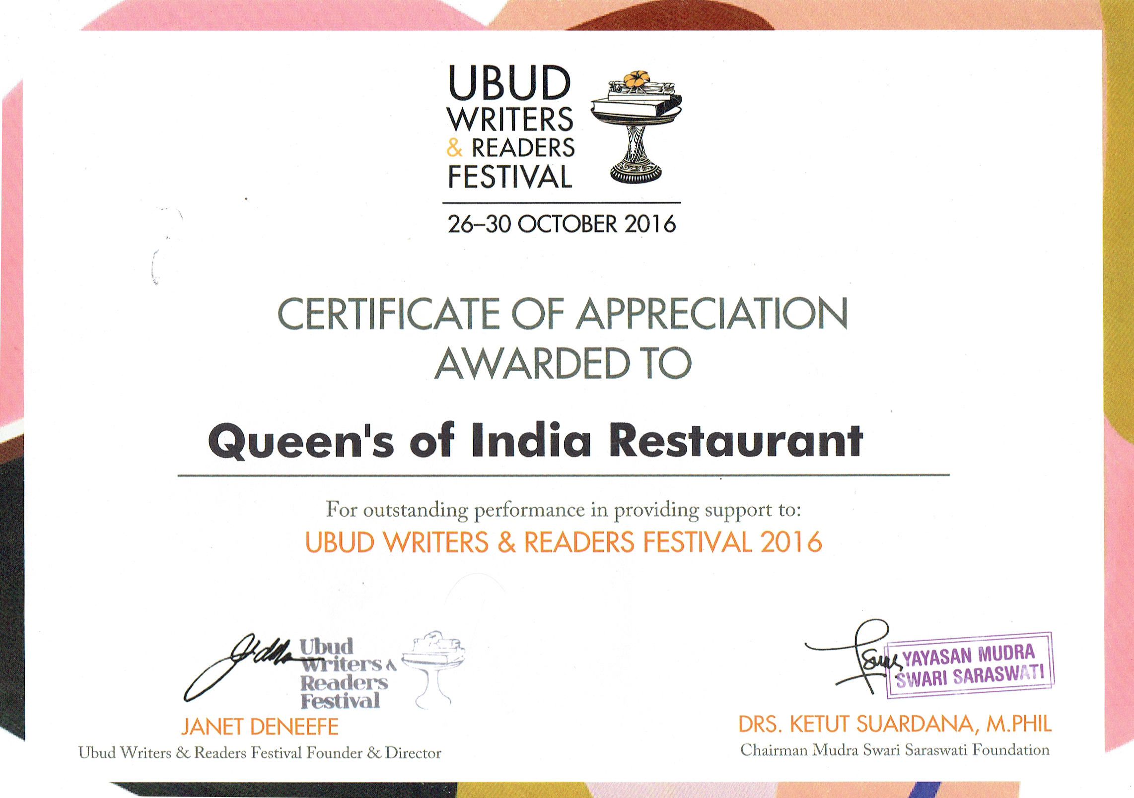Certificate of Appriciation Awarded to Queens of India