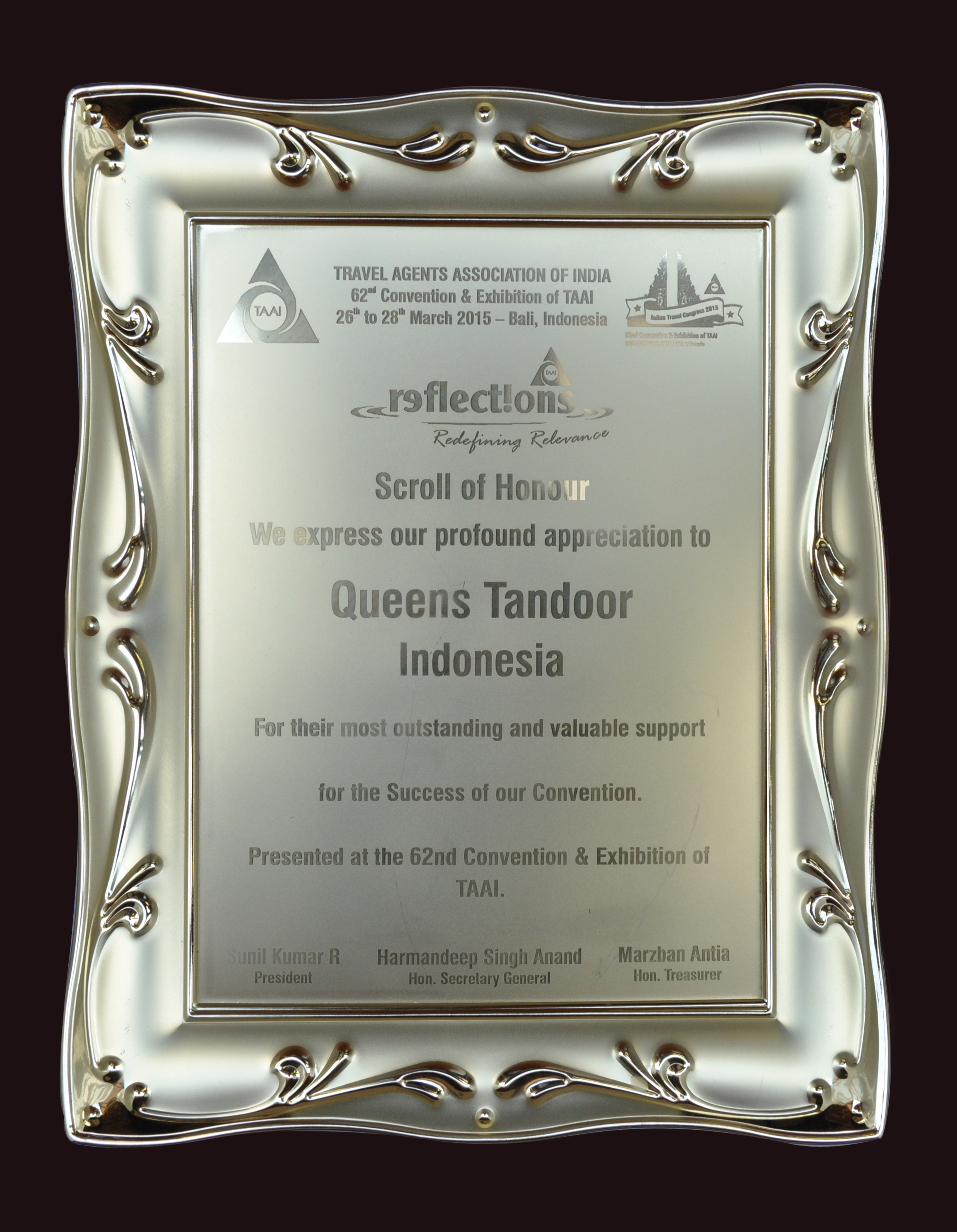 Appreciation for Supoort Queens Tandoor Indonesia from TAAI 2015